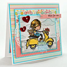 Tiddly Inks - Wryn/Scooting By card, My mind's eye paper, my girl, inktense pencils #tiddlyinks @tiddlyinks Tiddly Inks, Ink Stamps, Cute Cards, Copic, Stampin Up, Card Making, Diy Crafts, Colouring, My Girl