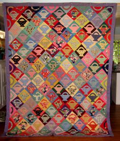 Antique African American Basket Quilt, New Jersey, 1930's.  Be sure to scroll over the design to see all the exuberant fabrics.