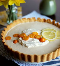 Lemon Tart, make with honey sweetened curd and home cultured coconut cream