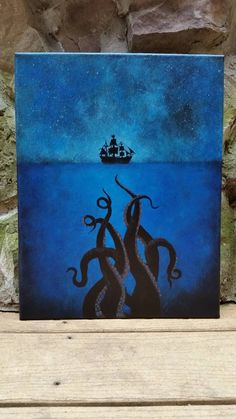Made to Order: sea Monster, tentacle art, pirate ship art, pirates of the… Painting Inspiration, Art Inspo, Mini Toile, Art Watercolor, Sea Art, Beginner Painting, Fantasy Art, Art Drawings, Cool Art