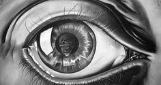 Escher. Eye, 1946 (detail). Halftone