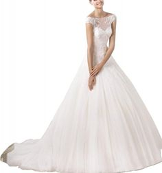 Amazon.com: WitBuy Tulle Princess Wedding Gown With Bateau Lace Illusion Neckline: Clothing