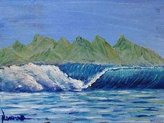 Pintura na madeira - onda impressionista