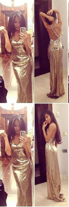 Gold Sparkly Prom Dresses,Sexy Backless Prom Dresses For Teens,Charming Evening Dresses    #promdresses #promdress #promgowns #dresses #gowns #prom #eveningdresses #partydresses #womendresses #fashiondresses #long #elegant #modest #fashion  #charming #formal #classy #beautiful #simple #cheap #promdresses2018 #forteens #sequins #v-neck #mermaid #sexy