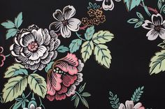 Vintage Wallpaper Roll Floral on a Matte Black by HouseofSeance