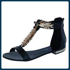 Damen Sandalen Sandaletten CL6 Spikes Glitzer Nieten (39, Schwarz) - Sandalen für frauen (*Partner-Link)