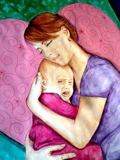 Importancia del abrazo materno cuando el hijo(a) está enfermo(a). #misdibujos #cosasquehago #abrazo #madre #mother #hug #pintadoamano Dibujo por Kelly Carrillo
