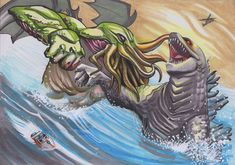 Cthulhu vs Godzilla by NemoNova on DeviantArt Cool Monsters, Classic Monsters, King Kong, Cthulhu, Aliens, Godzilla Comics, Lovecraftian Horror, Eldritch Horror, Cultura Pop