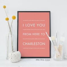 50 best gift ideas from charleston images on pinterest charleston charleston sc art print southern decor charleston gift i love you from here negle Gallery
