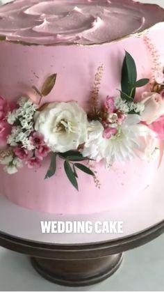 Elegant Birthday Cakes, Pretty Wedding Cakes, Pretty Birthday Cakes, Pretty Cakes, Cute Cakes, Beautiful Cakes, Cake Decorating Frosting, Cake Decorating Designs, Cake Decorating Techniques