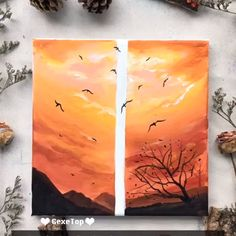 40 Easy Acrylic Painting Ideas for Beginners to Try – FeminaTalk Canvas Painting Tutorials, Easy Canvas Painting, Simple Acrylic Paintings, Diy Canvas Art, Painting Videos, Diy Painting, Gouache Painting, Painting Lessons, Sunset Painting Easy