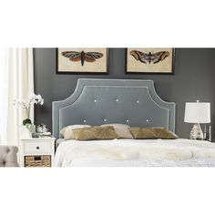 Safavieh Tallulah Sky Blue/ White Piping Upholstered Arched Headboard (King)