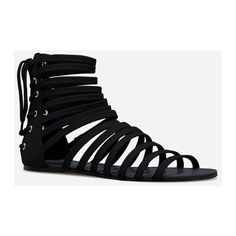Justfab Flat Sandals Brinton ($40) ❤ liked on Polyvore featuring shoes, sandals, black, flat strap sandals, strappy platform sandals, t-strap flats, strappy sandals and black platform sandals