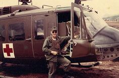 """There was no more welcomed sound of to a wounded soilder in Vietnam than the whop-whop-whop of the """"dustoff Huey"""" coming to get them out of hell. Anyone that has ever flown in a Dustoff Huey will n… Army Medic, Combat Medic, Military Love, Military Guns, Military Service, American Veterans, American Civil War, Native American, Women In History"""