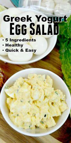 Healthy Greek Yogurt Egg Salad Easy 5 ingredient egg salad that's made with greek yogurt! Quick side dish recipe that makes a healthy lunch or side dish for parties or even Easter! Healthy Egg Salad, Easy Egg Salad, Healthy Salad Recipes, Healthy Snacks, Healthy Recipes With Eggs, Healthy Yogurt, Thm Recipes, Greek Yogurt Recipes, Egg Salad Recipe With Greek Yogurt