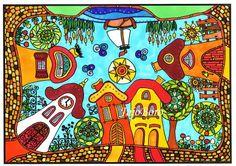 Manóházak körben Collage, Watercolor, Games, Artwork, Flowers, Projects, Crafts, Mosaic Crosses, Mosaics