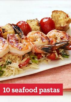 Shrimp Bruschetta with Orzo Pasta – Garlic, tomatoes, bread and olive oil create a bruschetta-style shrimp and orzo pasta recipe that will win the best comments from your guests. Kraft Foods, Kraft Recipes, Meatless Pasta Recipes, Orzo Pasta Recipes, Healthy Recipes, Seafood Dishes, Pasta Dishes, Seafood Recipes, Cooking Recipes