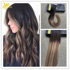 European Ombre Off Black Dark Brown PU Tape in Human Hair Extensions Remy Hair #Ugea #StraightBundle