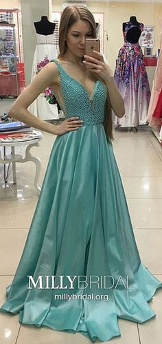 Long Prom Dresses For Teenagers,Green Formal Evening Dresses Princess,Elegant Military Ball Dresses V Neck,Modest Satin Pageant Graduation Party Dresses with Pearl Detailing #MillyBridal #greendresses #princessdresses #graduationdresses