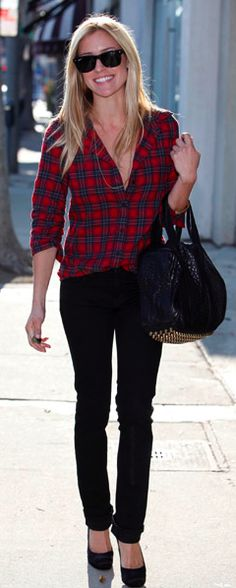 Love plaid and black skinny jeans.