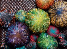 Sheila Hicks. Hand-dyed threads, found objects, wrapped