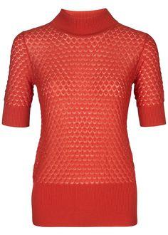 Bluse orangerød 22117 Storm og Marie Elena Short Sleeve - red clay
