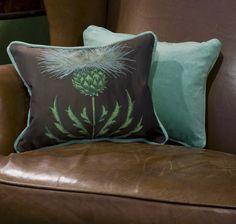 Brown sofa with aqua