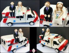 Ambulance Groom's cake for an EMT with sculpted bride and groom