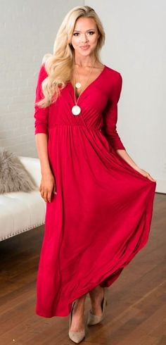 #winter #outfits  red surplice 3/4 sleeve maxi dress