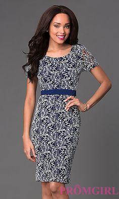 Short Sleeve Knee Length Lace Dress at PromGirl.com