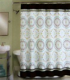 PERI Tahiti Tile Aqua BlueTeal Green Brown Moroccan Shower - Blue and brown shower curtain fabric