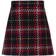SKIRT (29,785 THB) ❤ liked on Polyvore featuring skirts, bottoms, plaid, blue skirt, long skater skirt, circle skirts, plaid skater skirt and plaid skirts