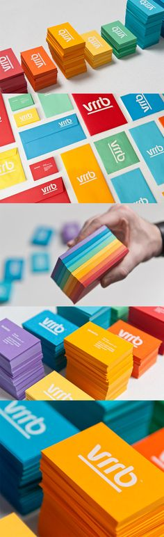 Custom Typography On A Colourful Set Of Business Cards For A Web Development Studio