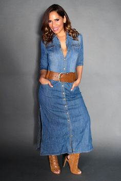 Chic Denim Long Sleeved Oned Down Maxi Dress With Side S