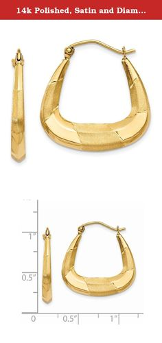 14k Polished, Satin and Diamond-cut Hoop Earrings. Attributes Diamond-cut 14k Yellow gold Post Polished & satin Product Description Material: Primary - Purity:14K Length of Item:22 mm Material: Primary:Gold Width of Item:4 mm Product Type:Jewelry Jewelry Type:Earrings Material: Primary - Color:Yellow Earring Closure:Wire & Clutch Earring Type:Shrimp / Creole.