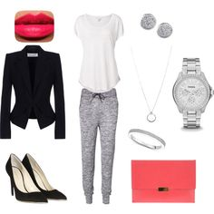 """dressed up sweatpants"" by kandeecake on Polyvore"