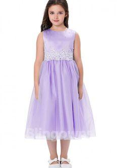 a9fc065d37 Jewel Appliques Sash White Pink Blue Purple Zipper Tulle Sleeveless A-line  Tea Length Flower Girl Dress