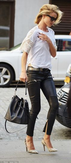Rosie Huntington Whiteley looks amazing in her Biker Leather Pants #aninebing