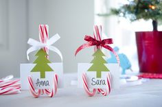 Use candy canes as place card holders.