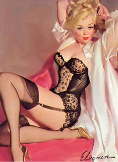 Handprinted Cotton Art Applique Vintage Sexy Pin-up Girl Gil Elvgren Simone, 1967 via Etsy