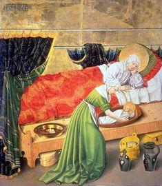 The Birth of Mary; Diese Tafel des Albrechtsaltars, der zwischen 1438 und 1440 vom sogenannten Albrechtsmeister geschaffen wurde, stellt die Geburt Mariens dar.