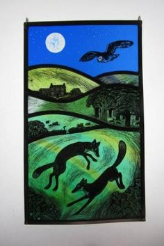 Midsummer Foxes  by Tamsin Abbott  Painted, Engraved Stained Glass