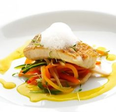 Herb-Poached Perch with Julienne Vegetables | AmazingSeafoodRecipes