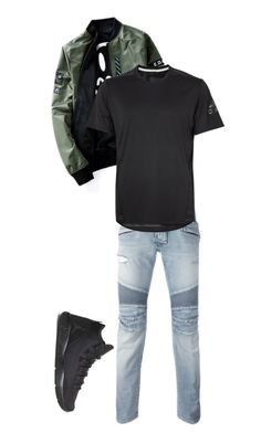 """basic"" by itzjustchy on Polyvore featuring Balmain, adidas, NIKE, men's fashion and menswear"