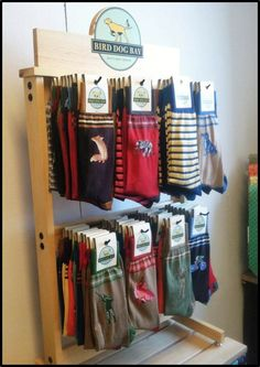 Wood Counter Sock Display | Custom made by www.sharndisplays.com