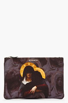GIVENCHY Purple printed Madonna zip pouch