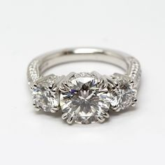 Stunning Diamond Three Stone Engagement Ring with Side Pave Details from Oliver Smith Jeweler