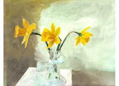 Spring Daffodils, Watercolor Art painting