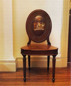 """One of a set of four mahogany hall chairs, c. 1780, supplied to the sixth Earl of Antrim for Glenarm Castle, Co. Antrim. Photography by James Fennell and Dara McGrath for """"Irish Furniture""""."""