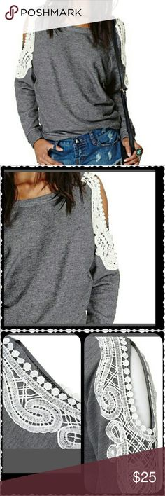 GREY SWEATSHIRT LACE DETAIL OPEN COLD SHOULDER Super cute especially when you want to wear a sweatshirt but looking for a little extra pizazz! This is in excellent used condition as I have only worn it a couple of times. Pair with your favorite jeans and Steve Maddens and you are good to go! Tops Sweatshirts & Hoodies